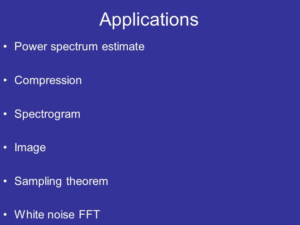 Applications Power spectrum estimate Compression Spectrogram Image Sampling theorem White noise FFT