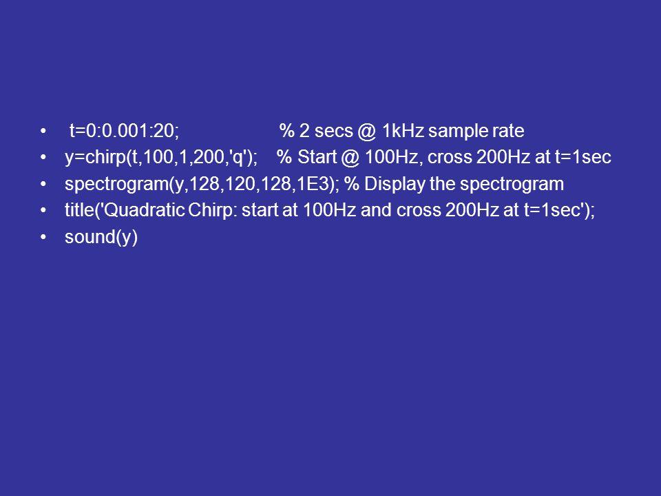 t=0:0.001:20; % 2 secs @ 1kHz sample rate y=chirp(t,100,1,200,'q'); % Start @ 100Hz, cross 200Hz at t=1sec spectrogram(y,128,120,128,1E3); % Display t