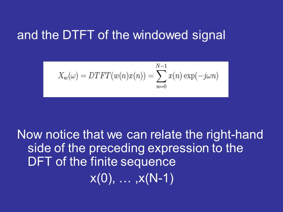 and the DTFT of the windowed signal Now notice that we can relate the right-hand side of the preceding expression to the DFT of the finite sequence x(0), …,x(N-1)
