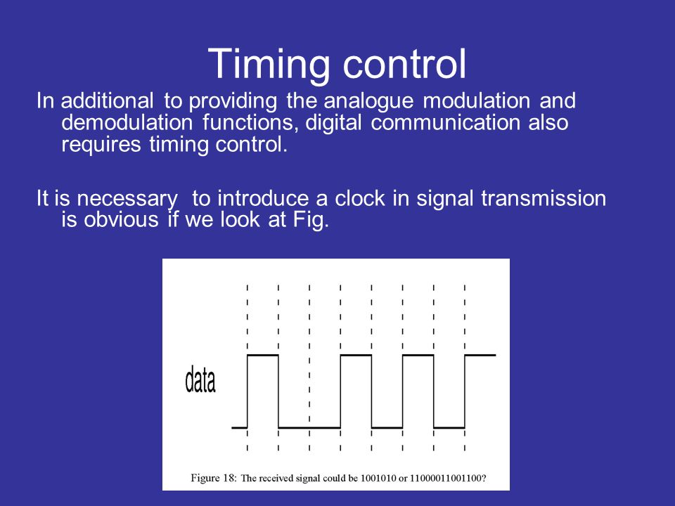 Timing control In additional to providing the analogue modulation and demodulation functions, digital communication also requires timing control.