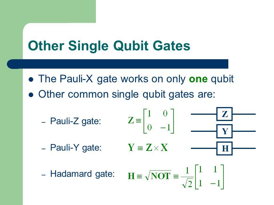 Other Single Qubit Gates The Pauli-X gate works on only one qubit Other common single qubit gates are: – Pauli-Z gate: – Pauli-Y gate: – Hadamard gate: Z Y H