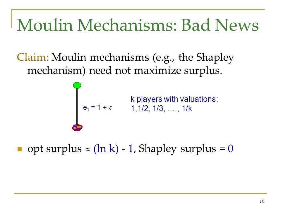 10 Moulin Mechanisms: Bad News Claim: Moulin mechanisms (e.g., the Shapley mechanism) need not maximize surplus. opt surplus (ln k) - 1, Shapley surpl