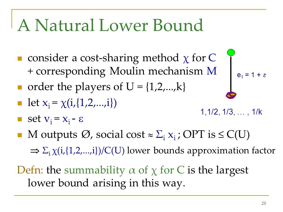 20 A Natural Lower Bound consider a cost-sharing method χ for C + corresponding Moulin mechanism M order the players of U = {1,2,...,k} let x i = χ(i,{1,2,...,i}) set v i = x i - M outputs Ø, social cost Σ i x i ; OPT is C(U) Σ i χ(i,{1,2,...,i})/C(U) lower bounds approximation factor Defn: the summability α of χ for C is the largest lower bound arising in this way.