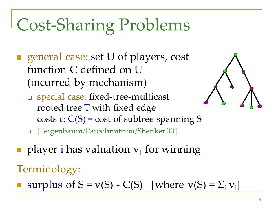 4 Cost-Sharing Problems general case: set U of players, cost function C defined on U (incurred by mechanism) special case: fixed-tree-multicast rooted tree T with fixed edge costs c; C(S) = cost of subtree spanning S [Feigenbaum/Papadimitriou/Shenker 00] player i has valuation v i for winning Terminology: surplus of S = v(S) - C(S) [where v(S) = Σ i v i ]