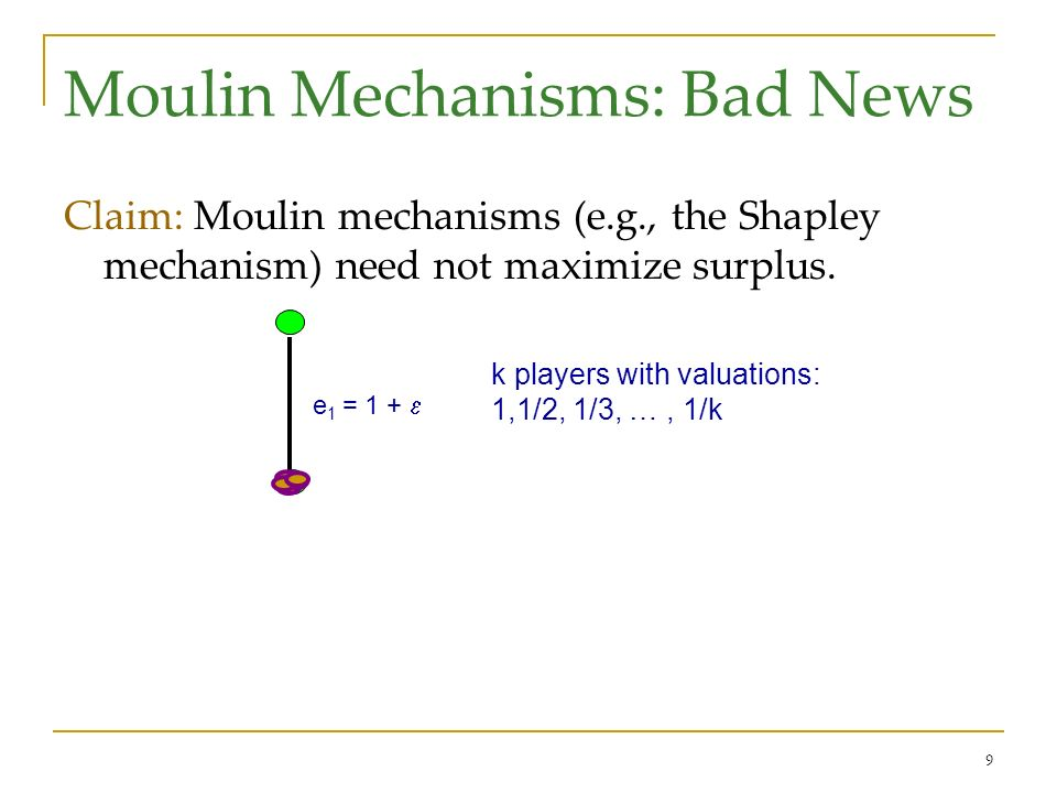 9 Moulin Mechanisms: Bad News Claim: Moulin mechanisms (e.g., the Shapley mechanism) need not maximize surplus.