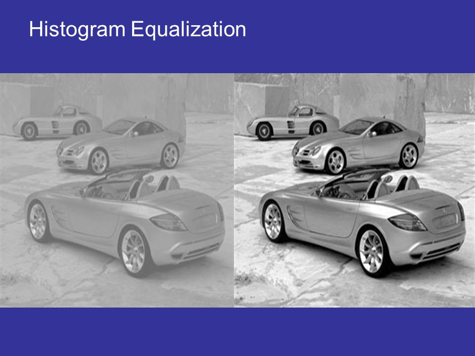 Histogram Equalization Note how the image is extremely grey; it lacks detail since the