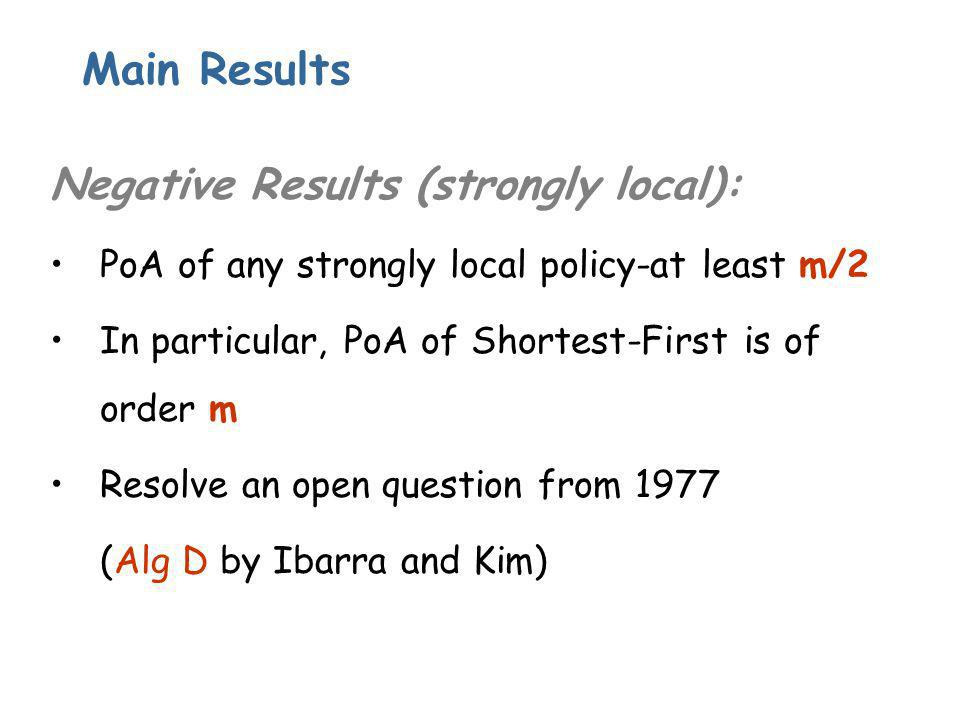 Main Results Negative Results (strongly local): PoA of any strongly local policy-at least m/2 In particular, PoA of Shortest-First is of order m Resolve an open question from 1977 (Alg D by Ibarra and Kim)