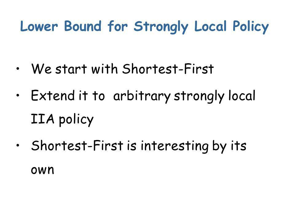 Lower Bound for Strongly Local Policy We start with Shortest-First Extend it to arbitrary strongly local IIA policy Shortest-First is interesting by its own