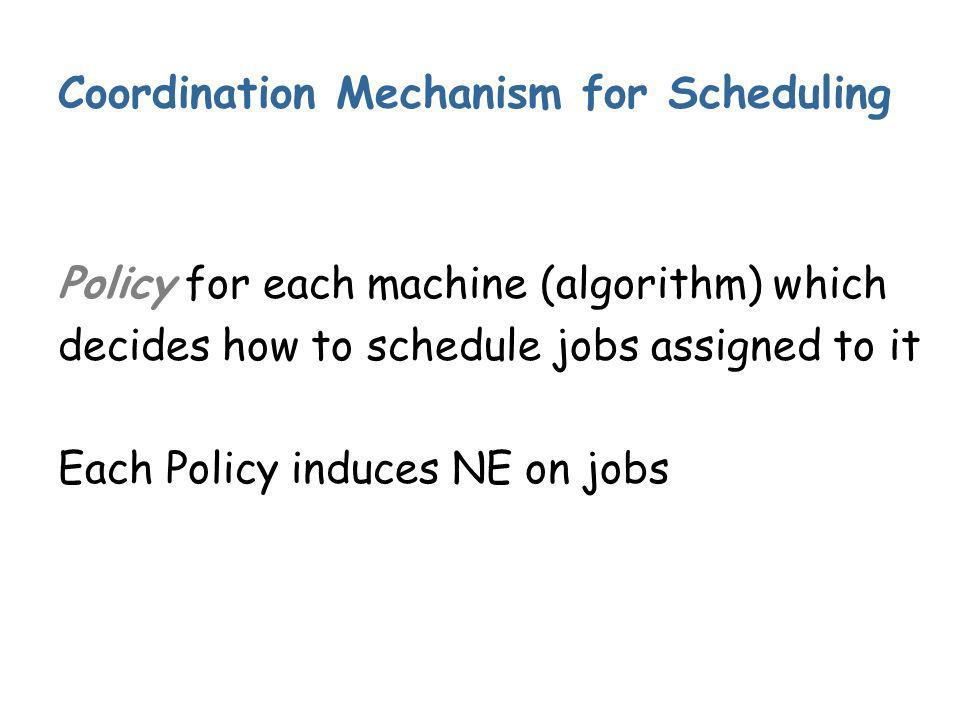 Coordination Mechanism for Scheduling Policy for each machine (algorithm) which decides how to schedule jobs assigned to it Each Policy induces NE on jobs