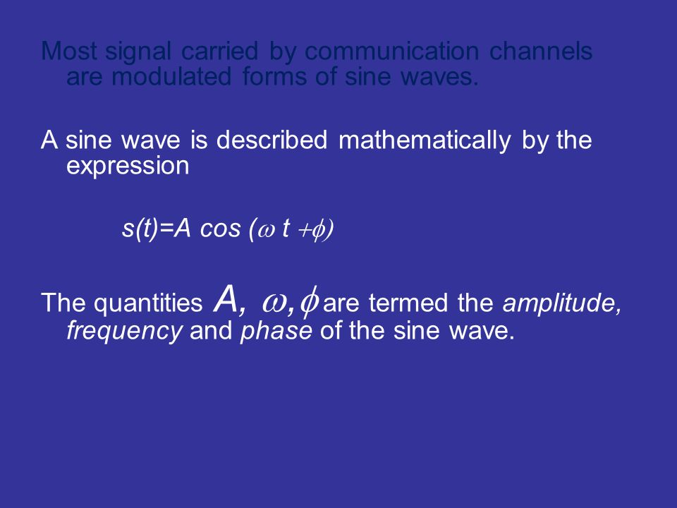 Most signal carried by communication channels are modulated forms of sine waves. A sine wave is described mathematically by the expression s(t)=A cos