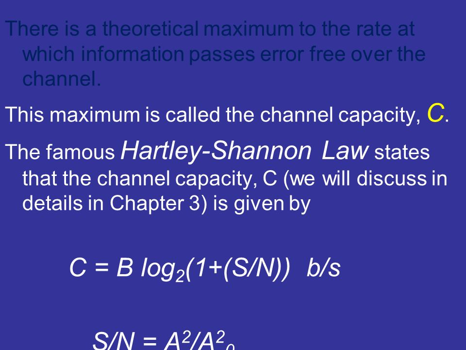 This maximum is called the channel capacity, C. The famous Hartley-Shannon Law states that the channel capacity, C (we will discuss in details in Chap
