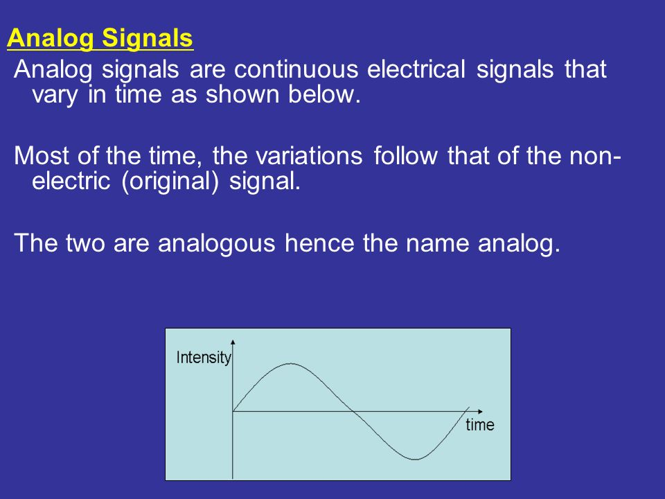 Analog Signals Analog signals are continuous electrical signals that vary in time as shown below.
