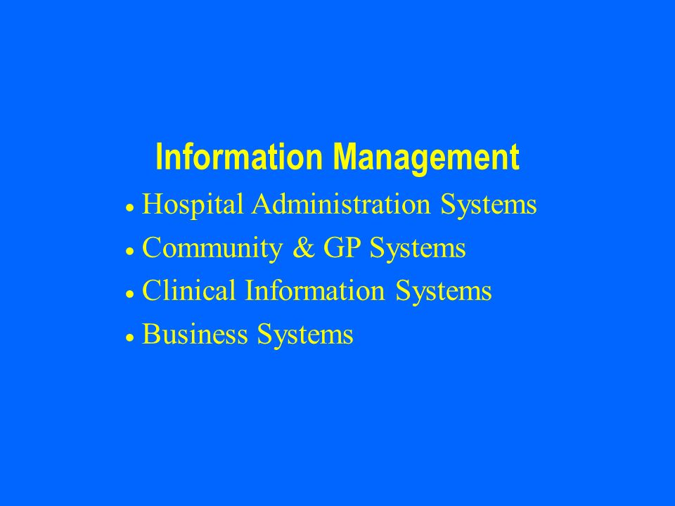 Hospital Information Systems A HIS meets the real-time operational information needs of health professionals to deliver care to patients, whilst also providing accurate and timely information for management purposes.