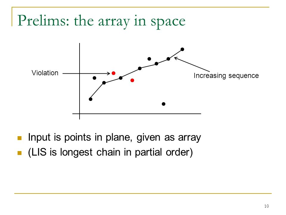 10 Prelims: the array in space Input is points in plane, given as array (LIS is longest chain in partial order) Increasing sequence Violation