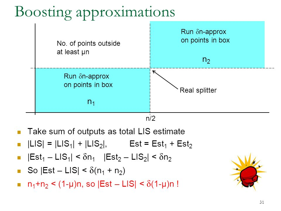 31 Boosting approximations n/2 Take sum of outputs as total LIS estimate |LIS| = |LIS 1 | + |LIS 2 |, Est = Est 1 + Est 2 |Est 1 – LIS 1 | < δ n 1 |Est 2 – LIS 2 | < δ n 2 So |Est – LIS| < δ (n 1 + n 2 ) n 1 +n 2 < (1-μ)n, so |Est – LIS| < δ (1-μ)n .