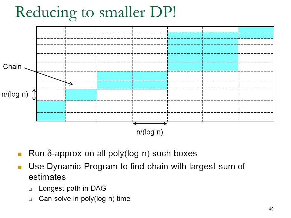 40 Reducing to smaller DP.