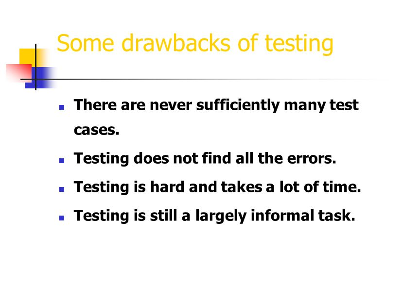 What is testing. Testing is not showing that there are no errors in the program.