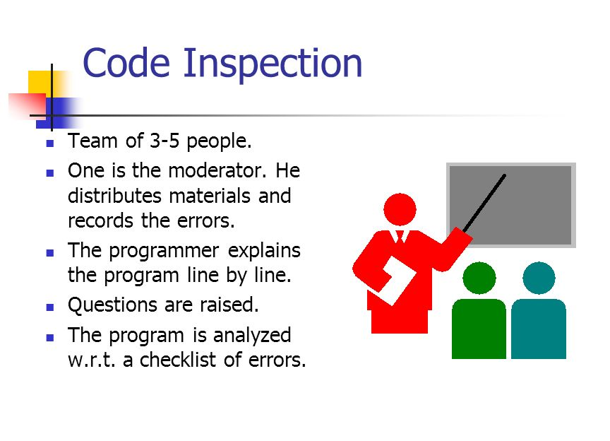 Inspections and Walkthroughs Manual testing methods. Done by a team of people. Performed at a meeting (brainstorming). Takes 90-120 minutes. Can find