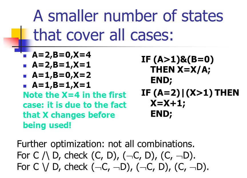 Multiple Condition Coverage Test all combinations of all conditions in each test. A>1,B=0 A>1,B 0 A 1,B=0 A 1,B 0 For second IF A=2,X>1 A=2,X 1 A 2,X>