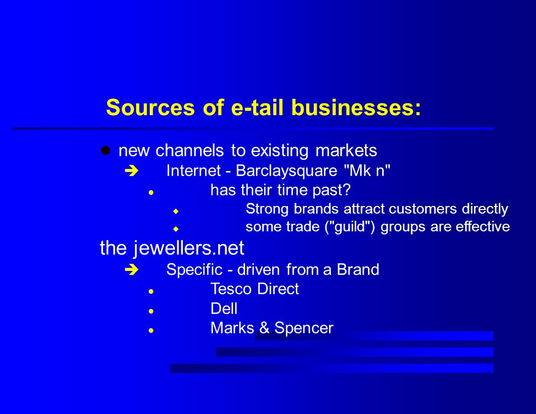 Sources of e-tail businesses: l new channels to existing markets è Internet - Barclaysquare Mk n l has their time past.