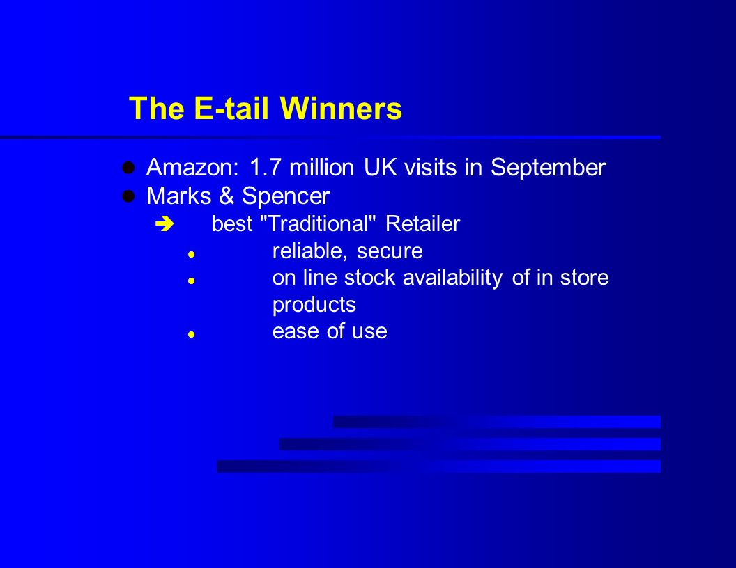 The E-tail Winners l Amazon: 1.7 million UK visits in September l Marks & Spencer è best Traditional Retailer l reliable, secure l on line stock availability of in store products l ease of use