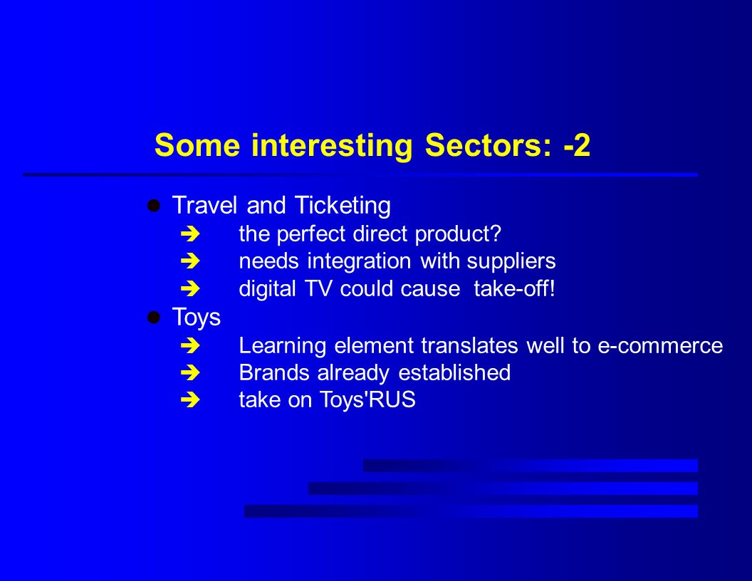 Some interesting Sectors: -2 l Travel and Ticketing è the perfect direct product.