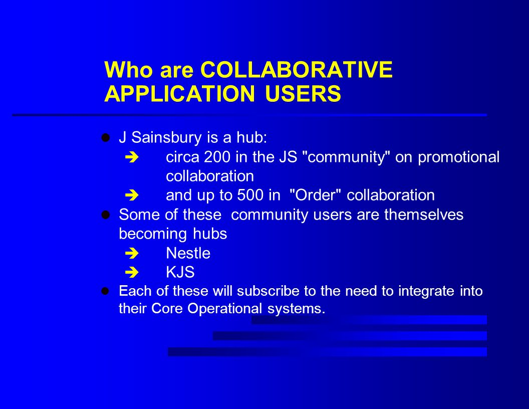 Who are COLLABORATIVE APPLICATION USERS l J Sainsbury is a hub: è circa 200 in the JS community on promotional collaboration è and up to 500 in Order collaboration l Some of these community users are themselves becoming hubs è Nestle è KJS l Each of these will subscribe to the need to integrate into their Core Operational systems.