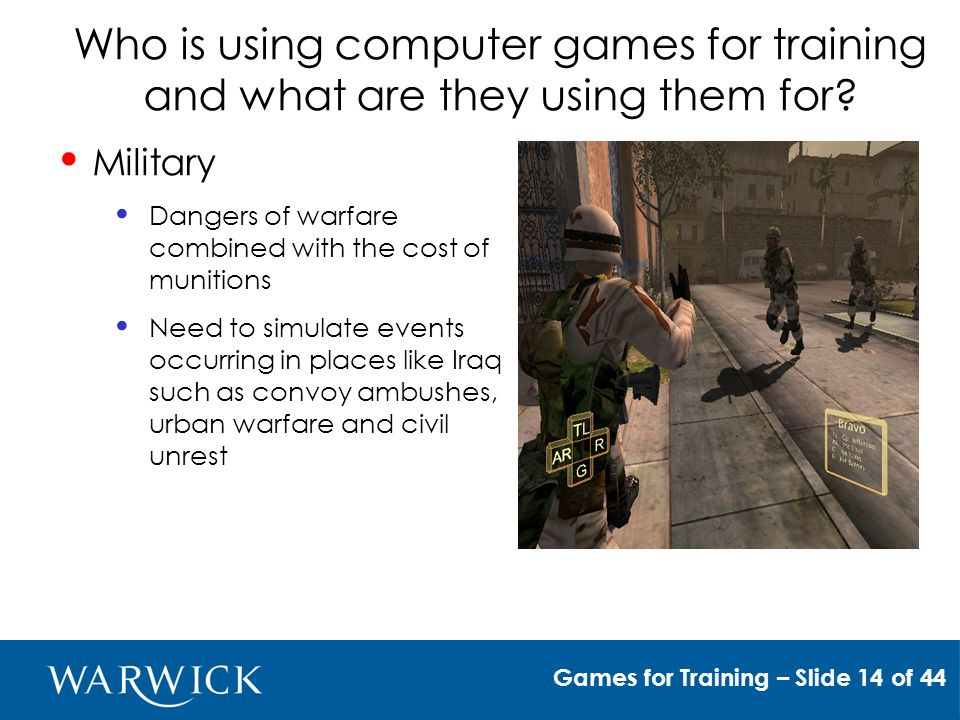 Who is using computer games for training and what are they using them for.