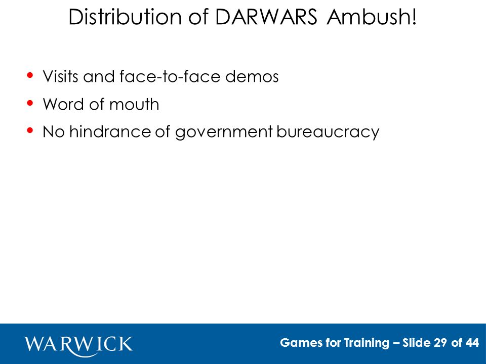 Distribution of DARWARS Ambush.