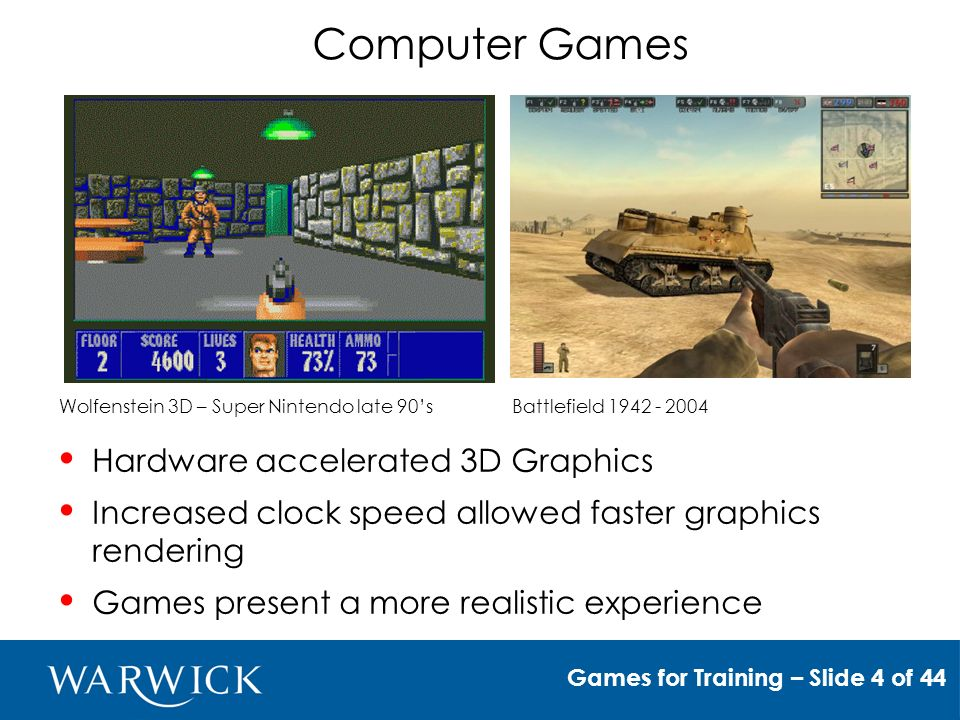 Computer Games Games for Training – Slide 4 of 44 Wolfenstein 3D – Super Nintendo late 90sBattlefield Hardware accelerated 3D Graphics Increased clock speed allowed faster graphics rendering Games present a more realistic experience