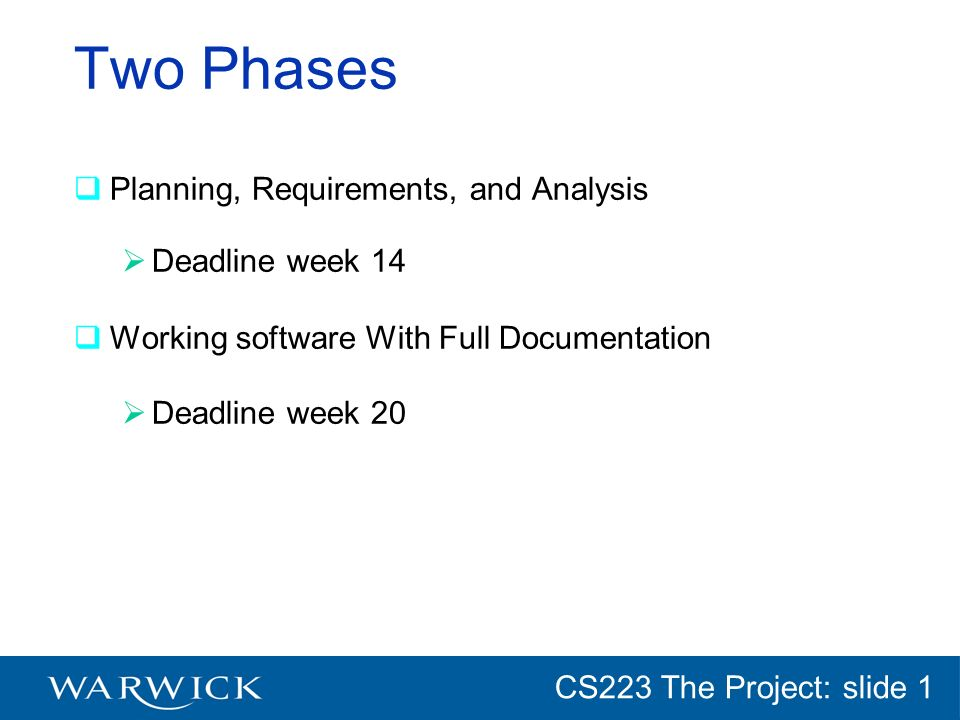 CG152 Introduction: slide 1 CS223 The Project: slide 1 Two Phases Planning, Requirements, and Analysis Deadline week 14 Working software With Full Doc