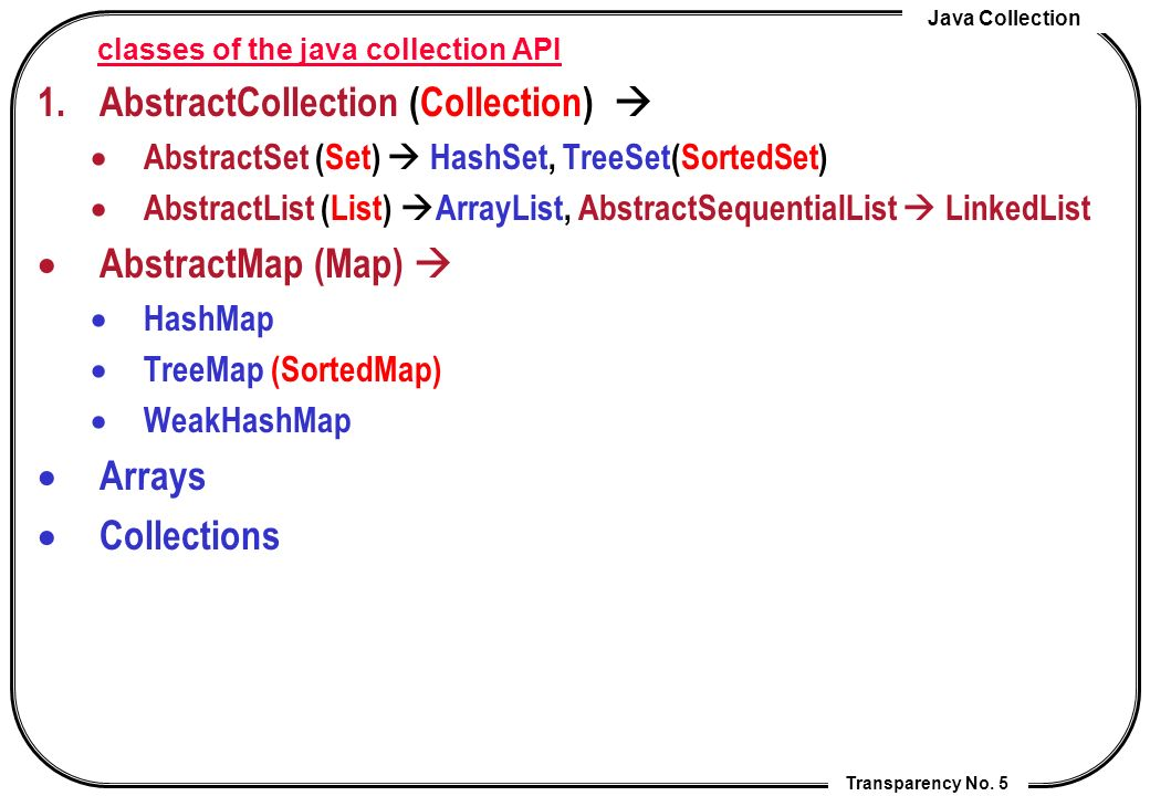 Java Collection Transparency No. 5 classes of the java collection API 1.AbstractCollection (Collection) AbstractSet (Set) HashSet, TreeSet(SortedSet)