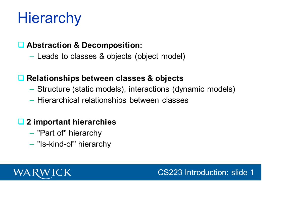 CG152 Introduction: slide 1 CS223 Introduction: slide 1 Hierarchy Abstraction & Decomposition: –Leads to classes & objects (object model) Relationship