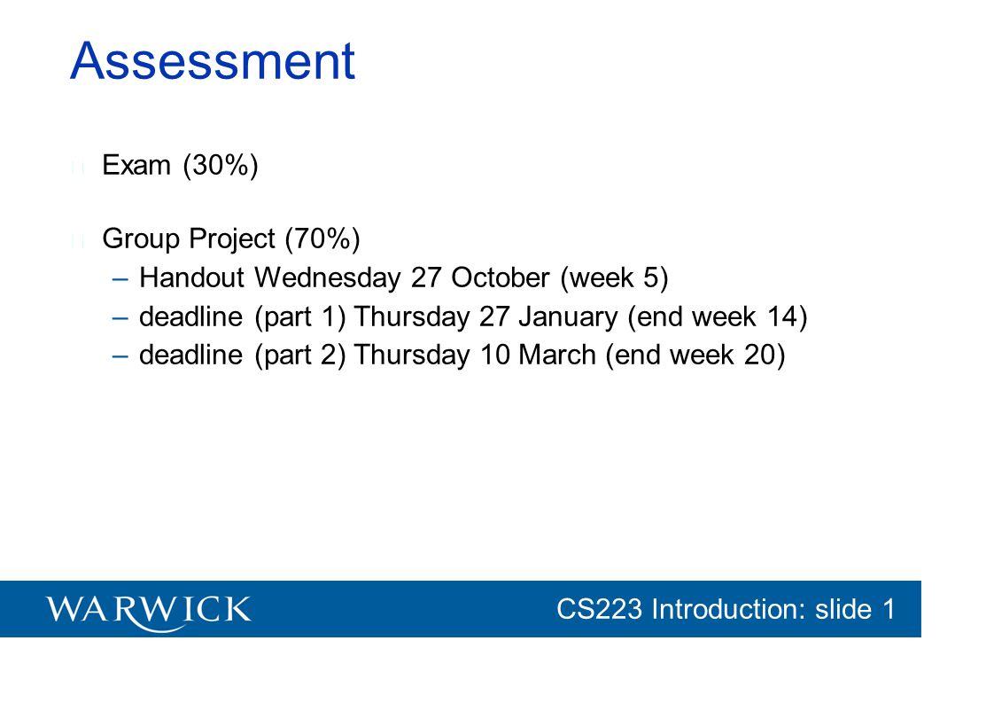 CG152 Introduction: slide 1 CS223 Introduction: slide 1 Assessment Exam (30%) Group Project (70%) –Handout Wednesday 27 October (week 5) –deadline (pa