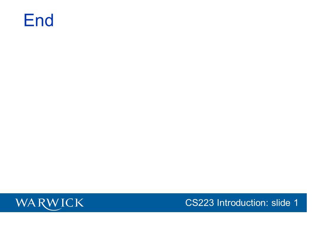 CG152 Introduction: slide 1 CS223 Introduction: slide 1 End