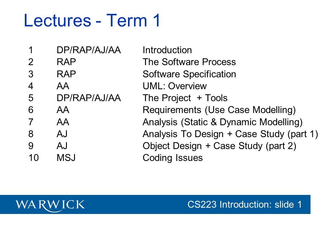 CG152 Introduction: slide 1 CS223 Introduction: slide 1 Lectures - Term 2 (provisional) 11RAPSoftware Cost Estimation 12AJFurther Design + Case Study (part 3) 13DAPFormal Methods (1): Introduction 14DAPFormal Methods (2): Testing & Reliability 15IBMTeam Based Software Development 16IBMDevelopment Focus Areas & Practices 17RAP Safety-Critical Systems 18RAP Software Testing 19RAP Software Reliability 20AA Methodologies (XP)