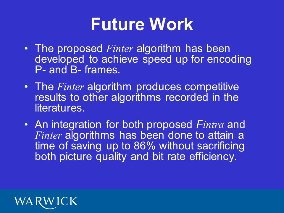 Future Work The proposed Finter algorithm has been developed to achieve speed up for encoding P- and B- frames.