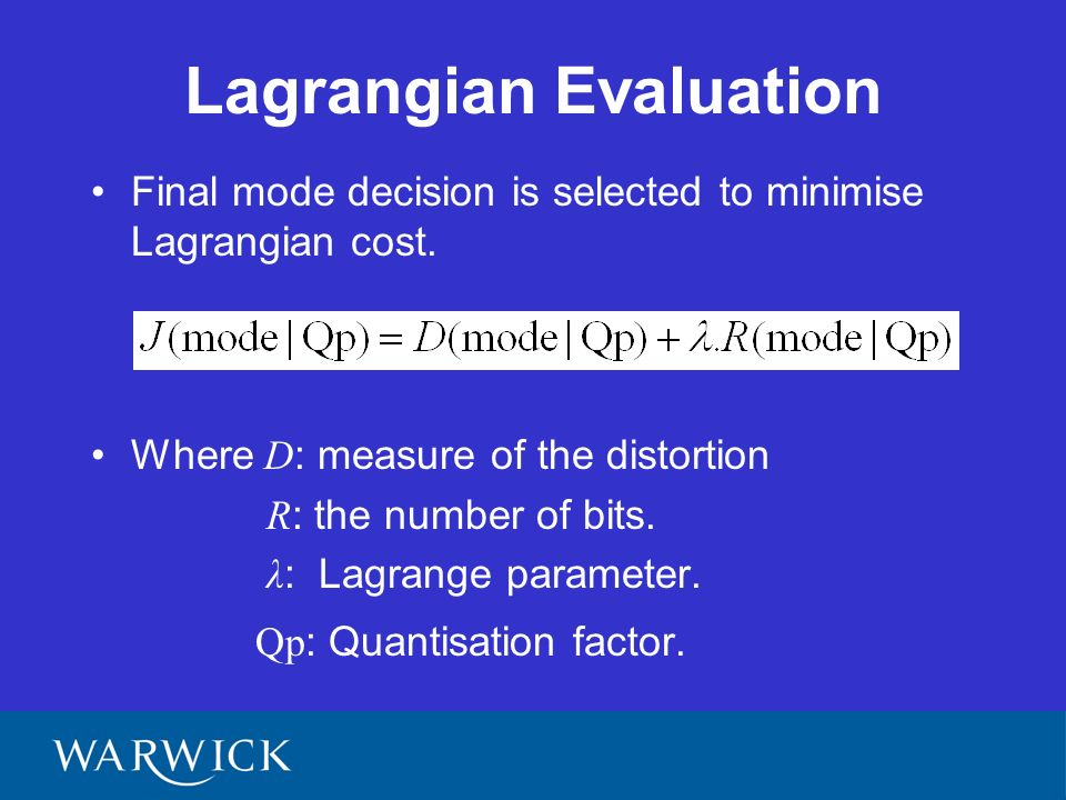 Lagrangian Evaluation Final mode decision is selected to minimise Lagrangian cost.