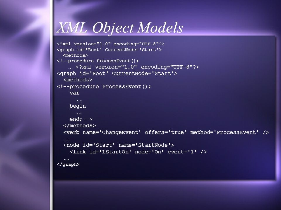 XML Object Models <!--procedure ProcessEvent(); … <!--procedure ProcessEvent(); var..