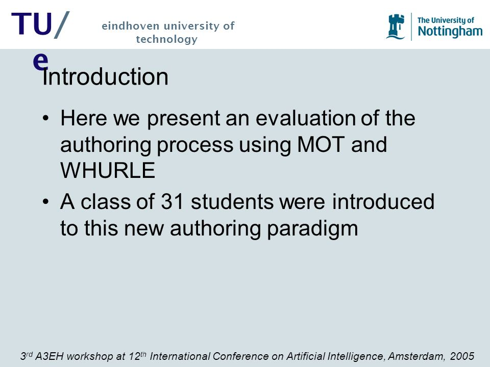 3 rd A3EH workshop at 12 th International Conference on Artificial Intelligence, Amsterdam, 2005 TU/ e eindhoven university of technology Conclusion There has been one previous attempt to convert content between systems: AHA.