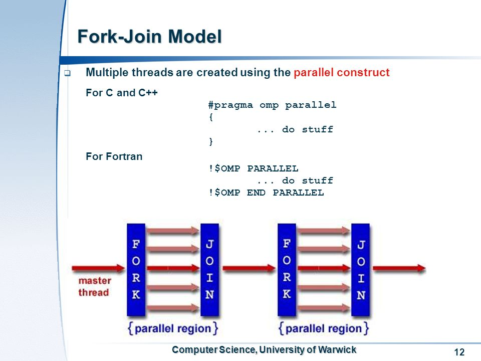 12 Computer Science, University of Warwick Fork-Join Model Multiple threads are created using the parallel construct For C and C++ #pragma omp paralle