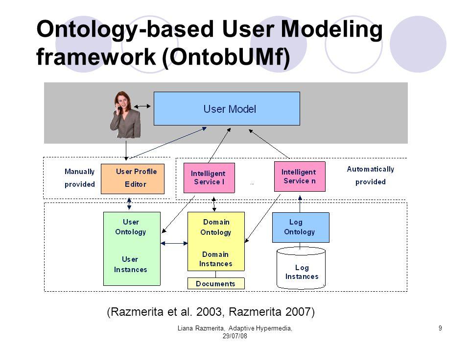 Liana Razmerita, Adaptive Hypermedia, 29/07/08 9 Ontology-based User Modeling framework (OntobUMf) (Razmerita et al.