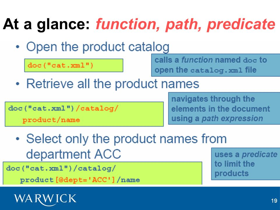 19 At a glance: function, path, predicate