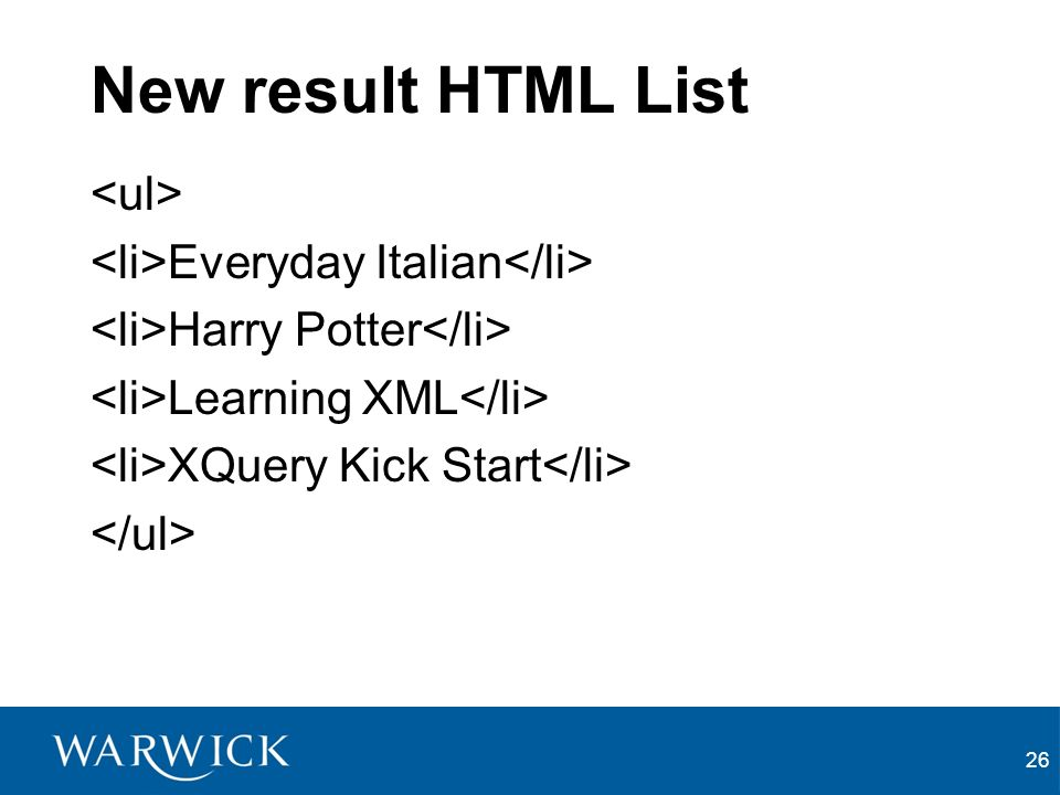 26 New result HTML List Everyday Italian Harry Potter Learning XML XQuery Kick Start