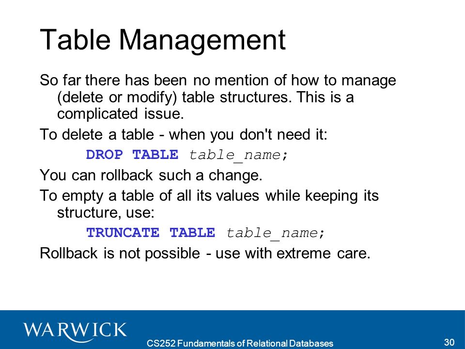 CS252 Fundamentals of Relational Databases 30 Table Management So far there has been no mention of how to manage (delete or modify) table structures.