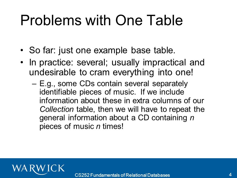 CS252 Fundamentals of Relational Databases 4 Problems with One Table So far: just one example base table.