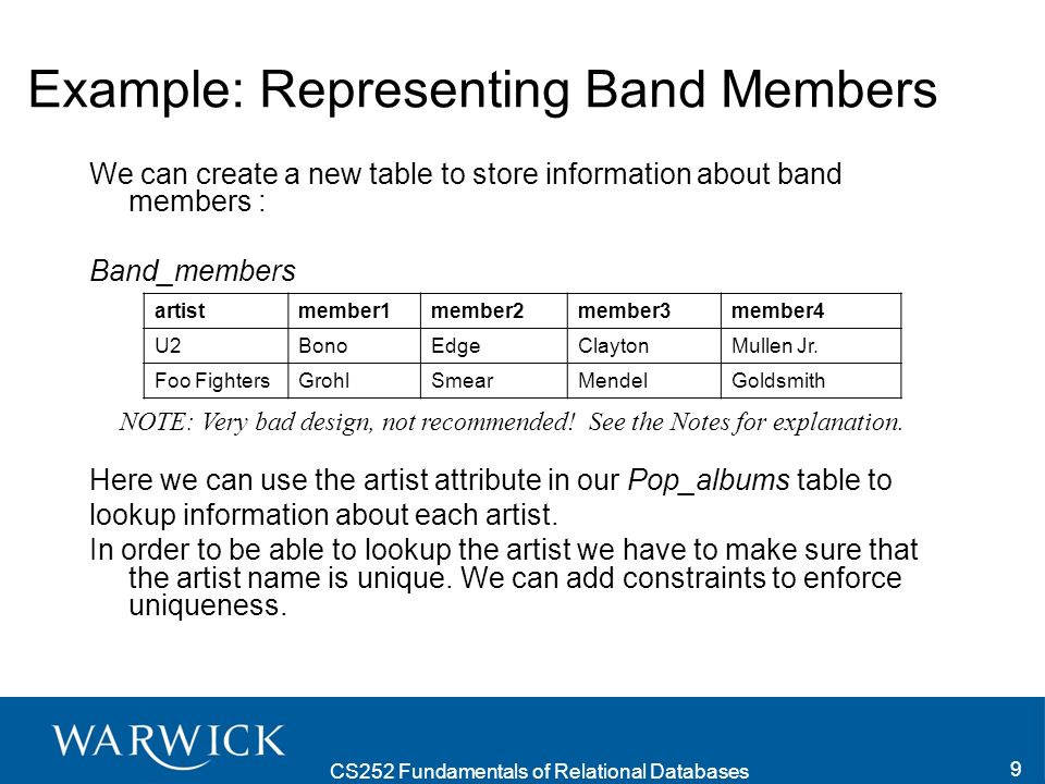CS252 Fundamentals of Relational Databases 9 Example: Representing Band Members We can create a new table to store information about band members : Band_members Here we can use the artist attribute in our Pop_albums table to lookup information about each artist.