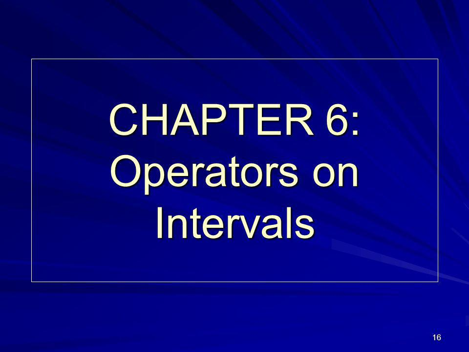16 CHAPTER 6: Operators on Intervals