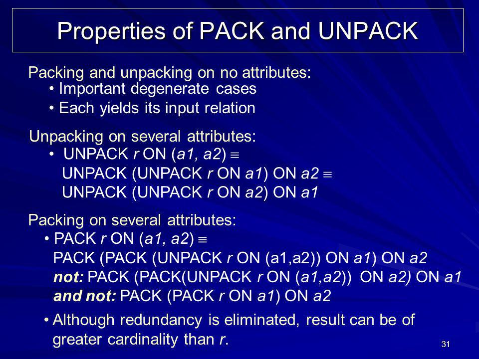 31 Properties of PACK and UNPACK Packing and unpacking on no attributes: Unpacking on several attributes: Packing on several attributes: Although redundancy is eliminated, result can be of greater cardinality than r.