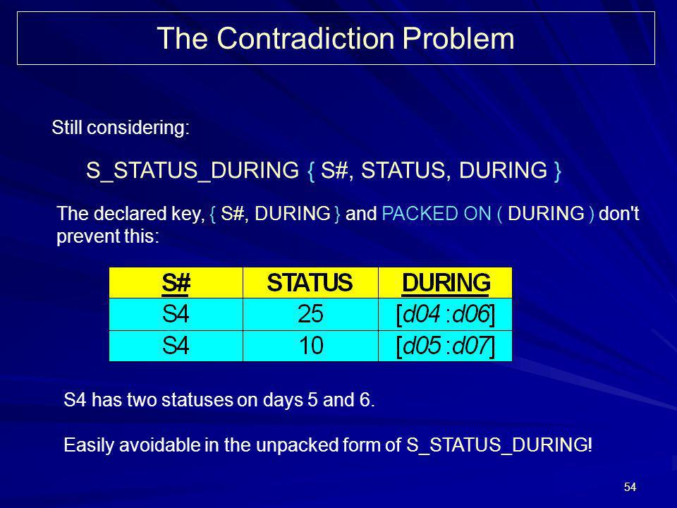54 The Contradiction Problem Still considering: S_STATUS_DURING { S#, STATUS, DURING } The declared key, { S#, DURING } and PACKED ON ( DURING ) don't